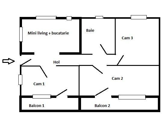 Inchiriez 3 camere decomandate