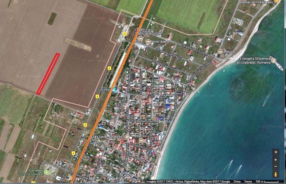 Vind 5000 mp teren extravilan linga intravilanul statiunii Costinesti