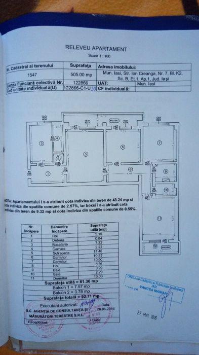 Apartament 4 camere 91,7 mp, Ateneu Tătărași, parcare 43mp, boxa 19mp