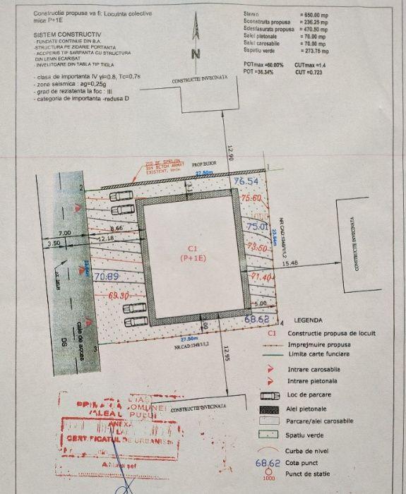 Vând teren cu autorizație de construcție ș. Păcurari, Valea Lupului