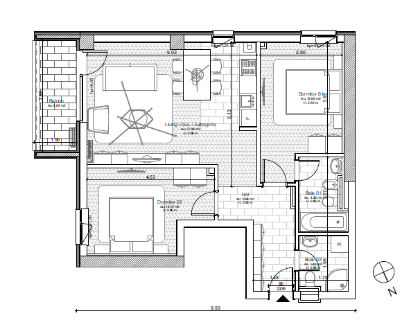 vand apartament nou 3 camere, in ansamblu rezidential, zona tipografilor