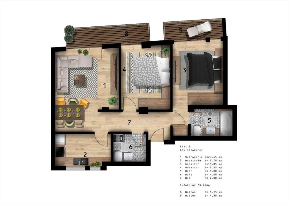 Apt 3 CAM 80mp+Balcon~Ansamblu Rezidential~Zona:Viitorului-Despot Voda